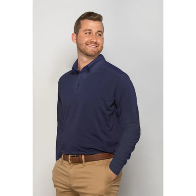 Equi In Style Men's Solid Long Sleeve Cool Shirt - Navy - Equestrian Chic Boutique