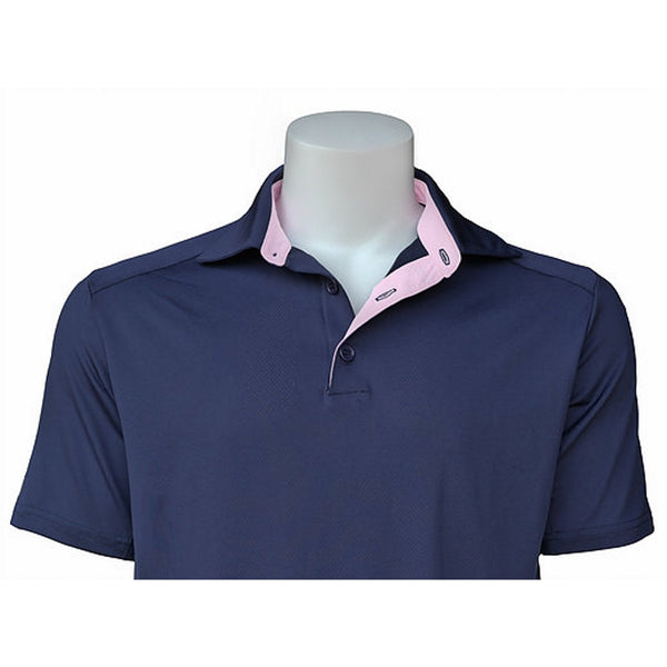 Equi In Style MEN'S Short Sleeve POLO Shirt - Navy / Light Pink - Equestrian Chic Boutique