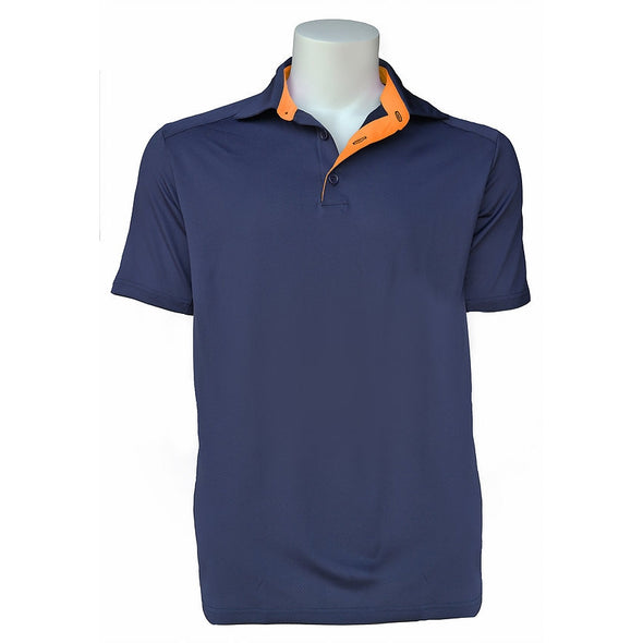 Equi In Style MEN'S Short Sleeve POLO Shirt - Navy / Mandarin - Equestrian Chic Boutique