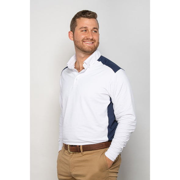 Equi In Style Mens Cool Shirt - White navy - Equestrian Chic Boutique