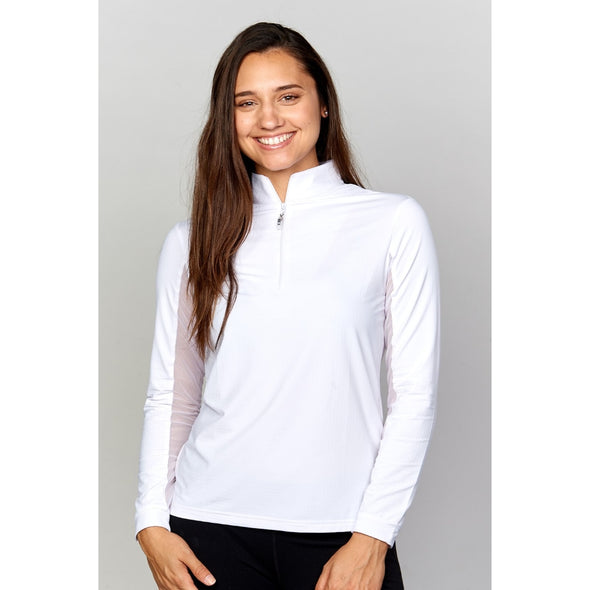 Equi In Style Solid Cool Shirt - White - Equestrian Chic Boutique