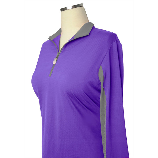 Equi In Style Blocked Cool Shirt - Violet with Grey - Equestrian Chic Boutique