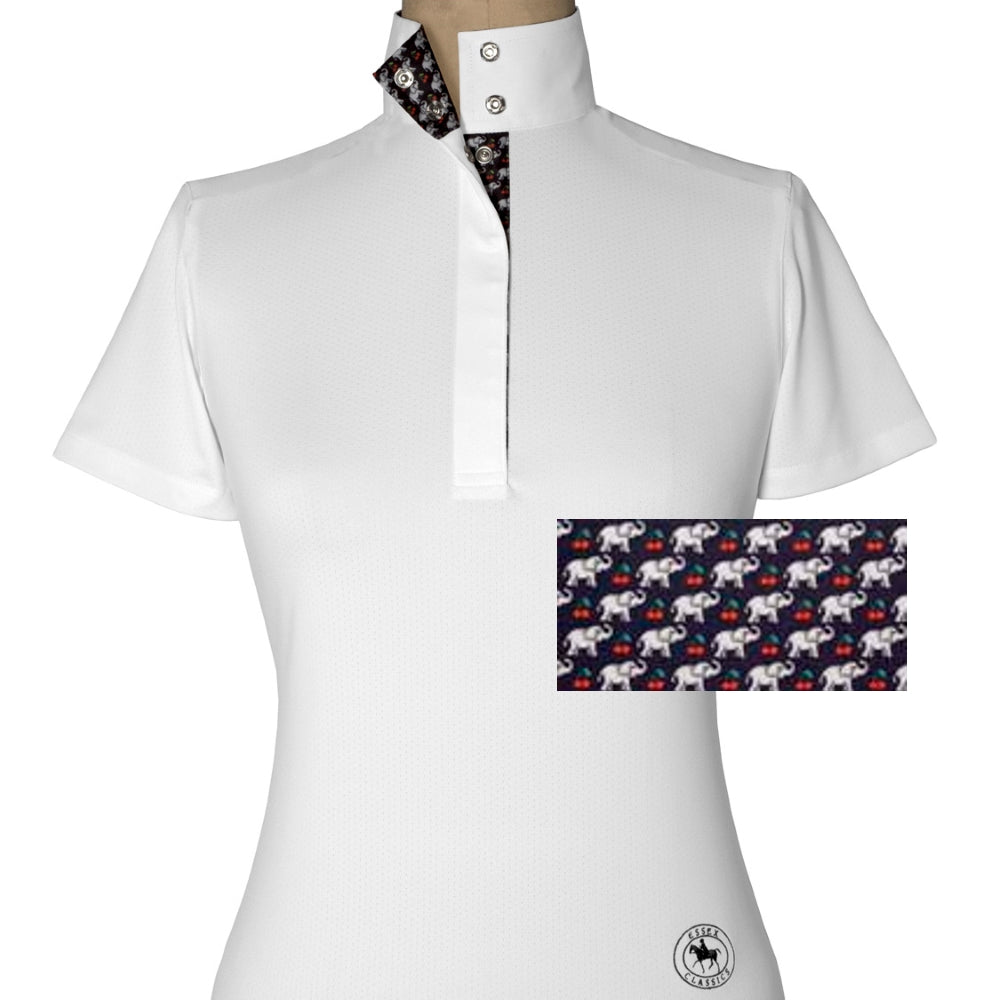 Essex Classics Cherries Elephanti Ladies Straight Collar Short Sleeve Show Shirt - Equestrian Chic Boutique