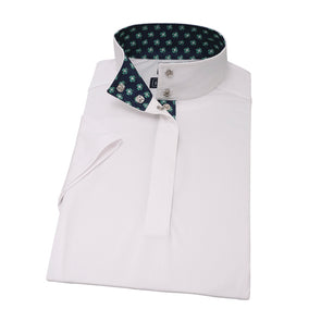 Essex Classics 4 Leaf Clover Ladies Straight Collar Short Sleeve Show Shirt - Equestrian Chic Boutique