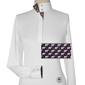 Essex Classics Cherries Elefanti Ladies Talent Yarn Straight Collar Show Shirt