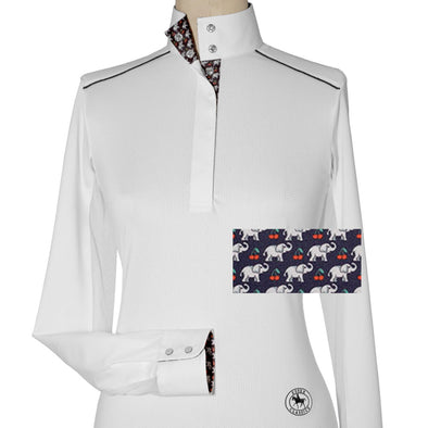 Essex Classics Cherries Elefanti Ladies Talent Yarn Straight Collar with Shoulder Piping Show Shirt - Equestrian Chic Boutique