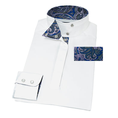 Essex Classics Persian Paisley Ladies Wrap Collar Show Shirt - Equestrian Chic Boutique