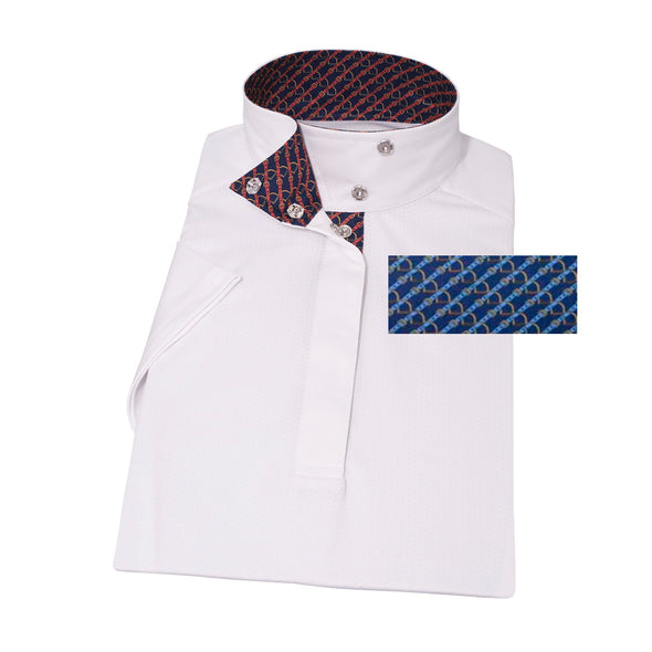 Essex Classics Stirrups & Leathers Ladies Wrap Collar Short Sleeve Show Shirt - Equestrian Chic Boutique