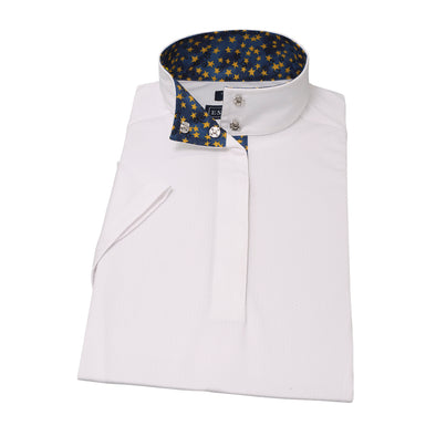 Essex Classics Yellow Stars Ladies Straight Collar Short Sleeve Show Shirt - Equestrian Chic Boutique