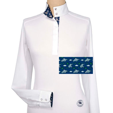 Essex Classics Flying Elephants Ladies Talent Yarn Straight Collar Show Shirt - Equestrian Chic Boutique