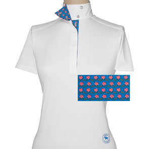 Essex Classics Plumbago Ladies Wrap Collar Short Sleeve Show Shirt - Equestrian Chic Boutique