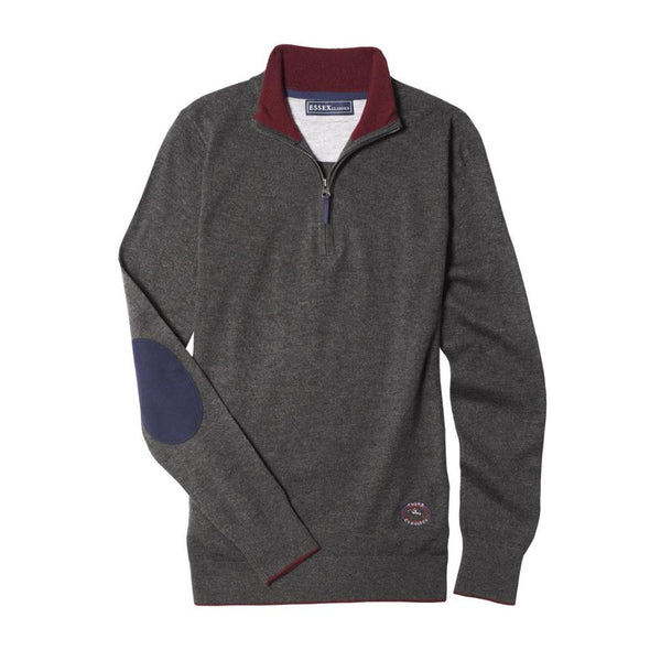 Essex Classics Trey Quarter Zip Sweater - Dark Grey- Equestrian Chic Boutique