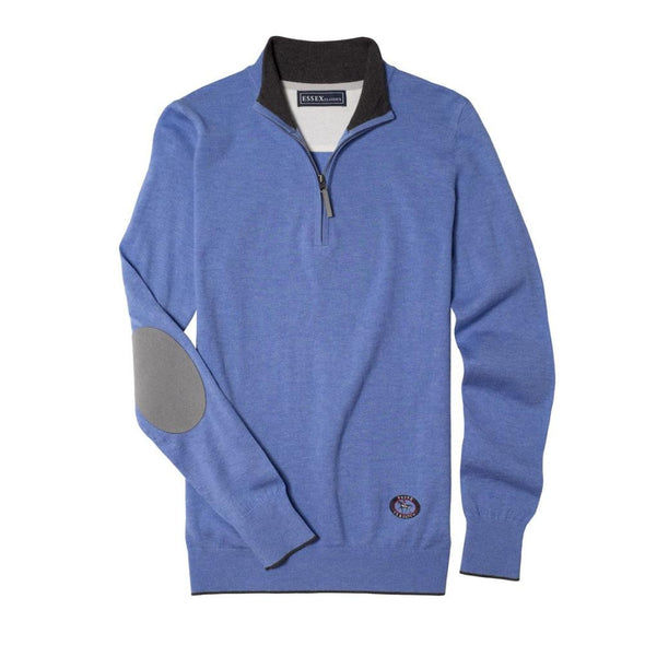 Essex Classics Trey Quarter Zip Sweater - Light Blue - Equestrian Chic Boutique