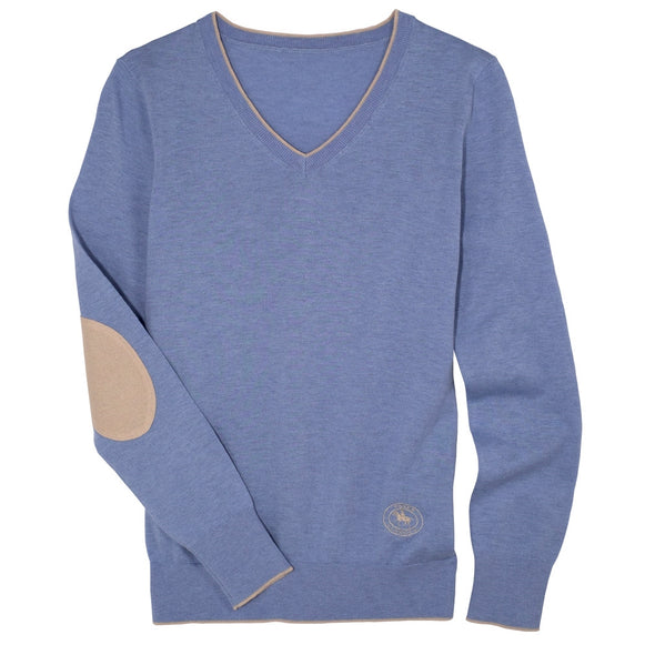 Essex Classics Trey V-Neck Sweater - Light Blue - Equestrian Chic Boutique