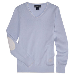 Essex Classics Trey V-Neck Sweater - Powder Blue - Equestrian Chic Boutique