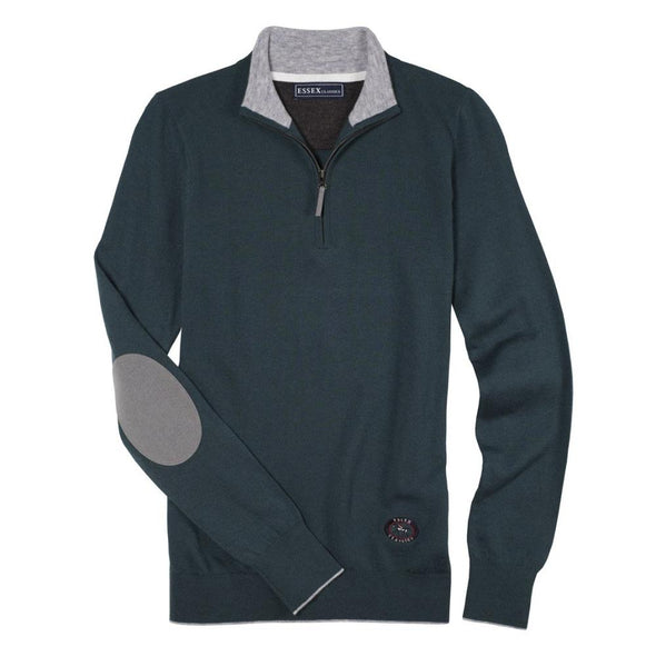 Essex Classics Trey Quarter Zip Sweater - Sage Green - Equestrian Chic Boutique