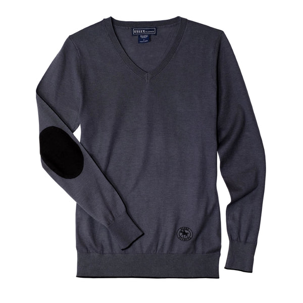 Essex Classics Trey V-Neck Sweater - Dark Grey - Equestrian Chic Boutique