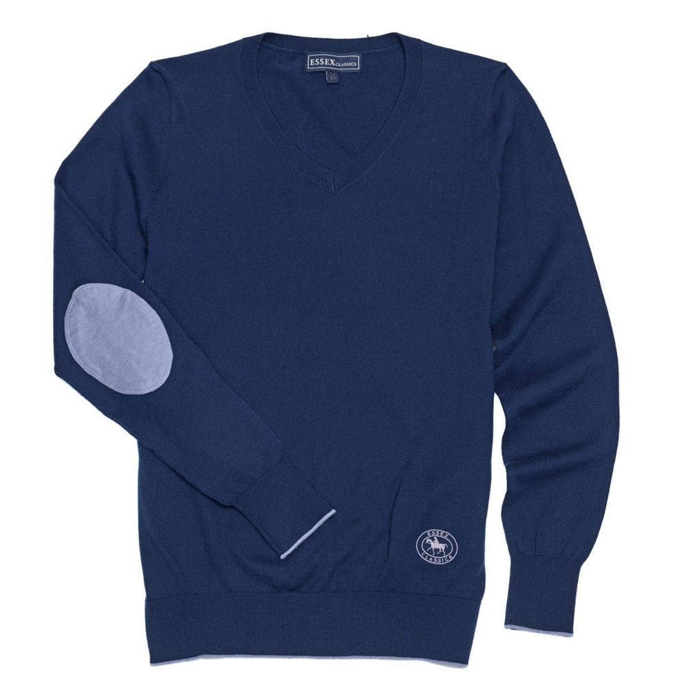 Essex Classics Trey V-Neck Sweater - Navy / Light Blue - Equestrian Chic Boutique