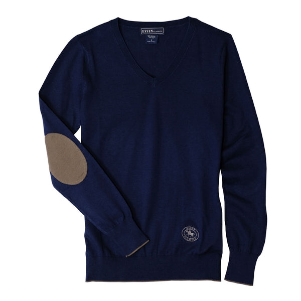 Essex Classics Trey V-Neck Sweater - Navy / Tan - Equestrian Chic Boutique