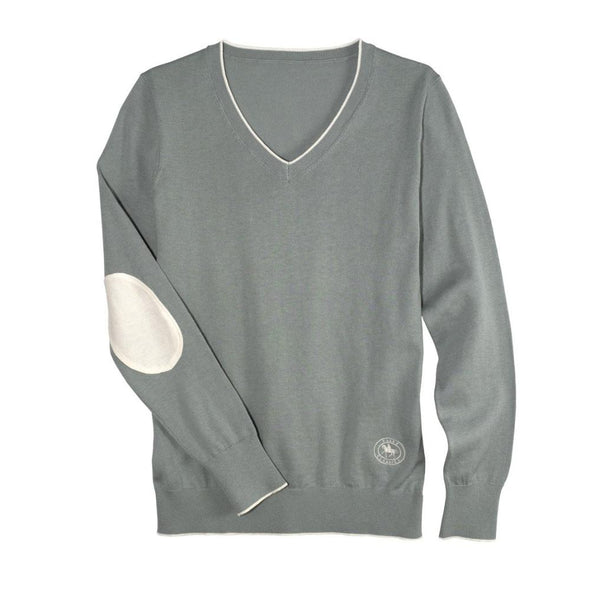 Essex Classics Trey V-Neck Sweater - Sage Green - Equestrian Chic Boutique