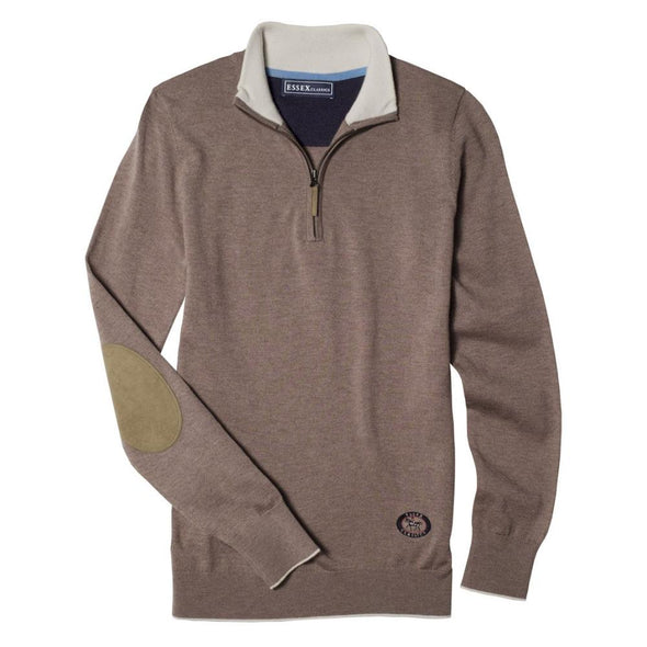 Essex Classics Trey Quarter Zip Sweater - Brown - Equestrian Chic Boutique