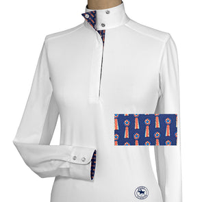 Essex Classics Tricolor Ladies Talent Yarn Wrap Collar Show Shirt - Equestrian Chic Boutique