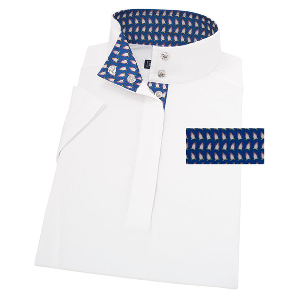 Essex Classics Happy Penguins Ladies Straight Collar Short Sleeve Show Shirt - Equestrian Chic Boutique