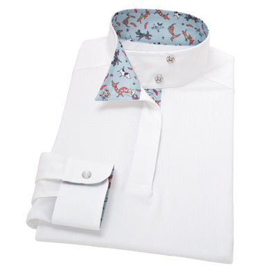 Essex Classics Danny & Ron's Rescue Hot Diggity Dog Girls Wrap Collar Show Shirt - Equestrian Chic Boutique