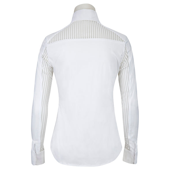 RJ Classics Lauren Ladies Show Shirt - White Stripe - Equestrian Chic Boutique