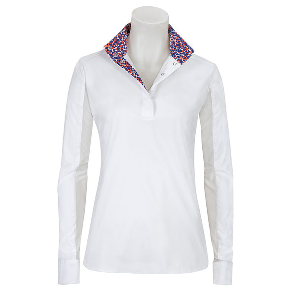 RJ Classics Rebecca Ladies Show Shirt - Orange Geo - Equestrian Chic Boutique