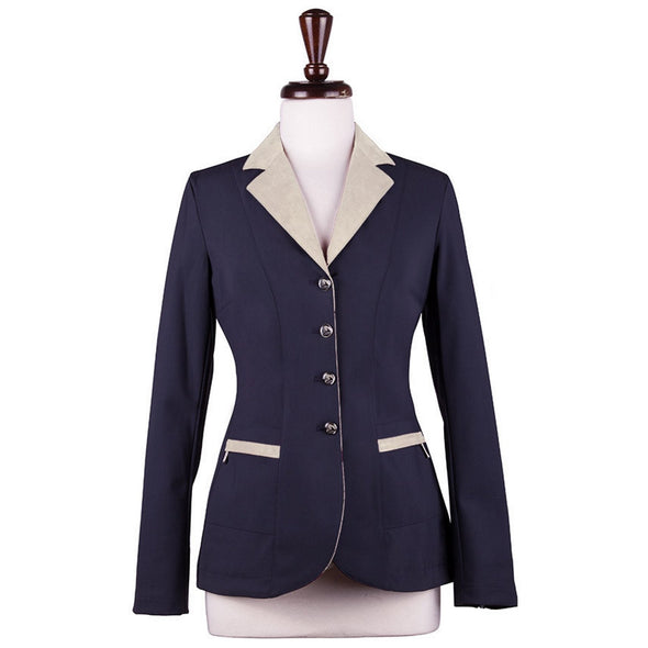 Sarm Hippique NAVY VERBANIA Show Coat - Navy with Beige - Equestrian Chic Boutique