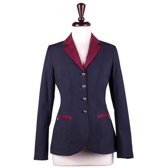 Sarm Hippique NAVY VERBANIA Show Coat - Navy with Burgundy - Equestrian Chic Boutique