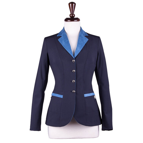 Sarm Hippique NAVY VERBANIA Show Coat - Navy with Light Blue - Equestrian Chic Boutique
