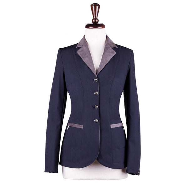 Sarm Hippique NAVY VERBANIA Show Coat - Navy with Dark Beige - Equestrian Chic Boutique