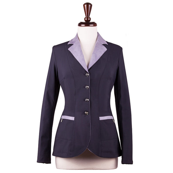 Sarm Hippique NAVY VERBANIA Show Coat - Navy with Violet - Equestrian Chic Boutique