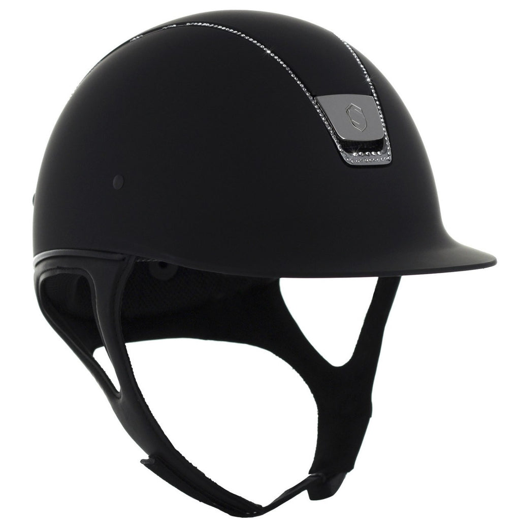 Samshield Shadow Matt 255 SWAROVSKI CRYSTAL Helmet - Black - Equestrian Chic Boutique