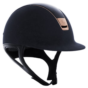 Samshield CUSTOM PREMIUM ALCANTARA Helmet -Blue with Pink Gold - Equestrian Chic Boutique - 1