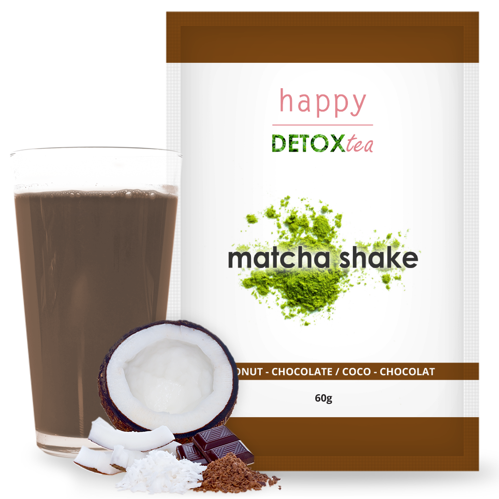 Coconut and Chocolate Matcha Shake Happy Detox Tea