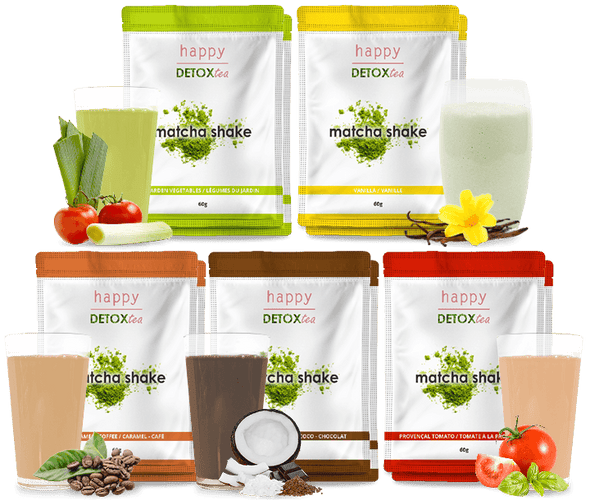 Assortiment substituts de repas Matcha Shake happy detox tea