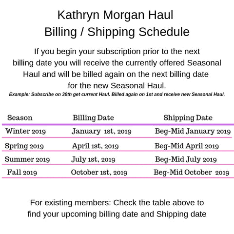 Kathryn Morgan Haul Shipping Schedule