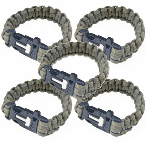 Paracord Survival Bracelet - Flint Fire Starter (PACK OF 5)