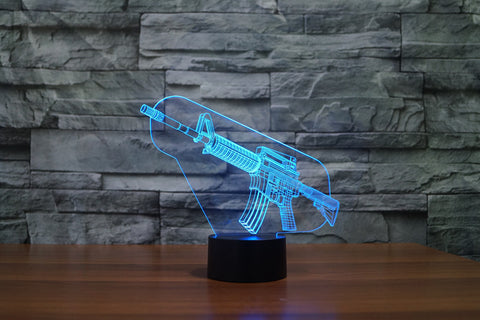 AR-15 3D Effect LED Night Light 7 Color Changing Touch Lamp