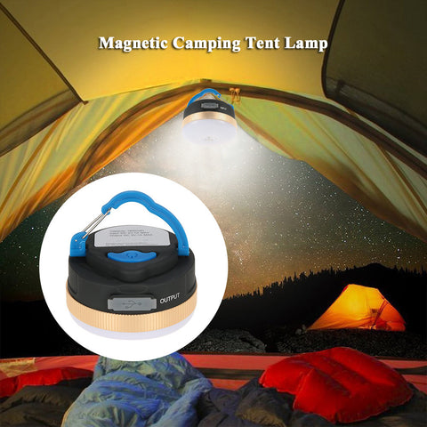 Magneto-Lamp® Magnetic Rechargeable Camping Lamp With USB Emergency Power Bank for Cell Phone Charging