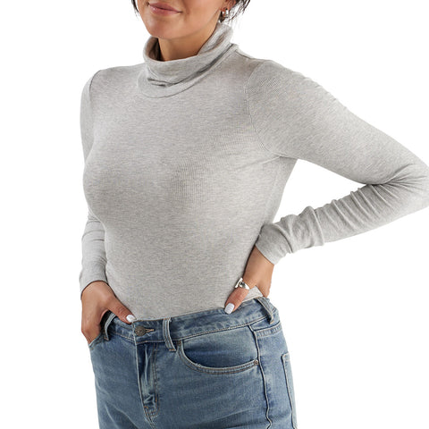 grey long sleeve turtleneck tall woman