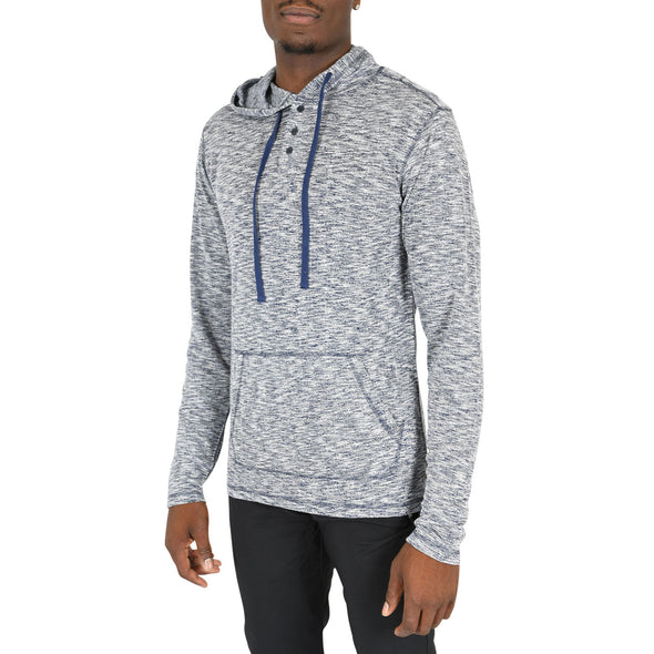 Regular-Fit Tall Hooded Sweater in Navy & White Mix