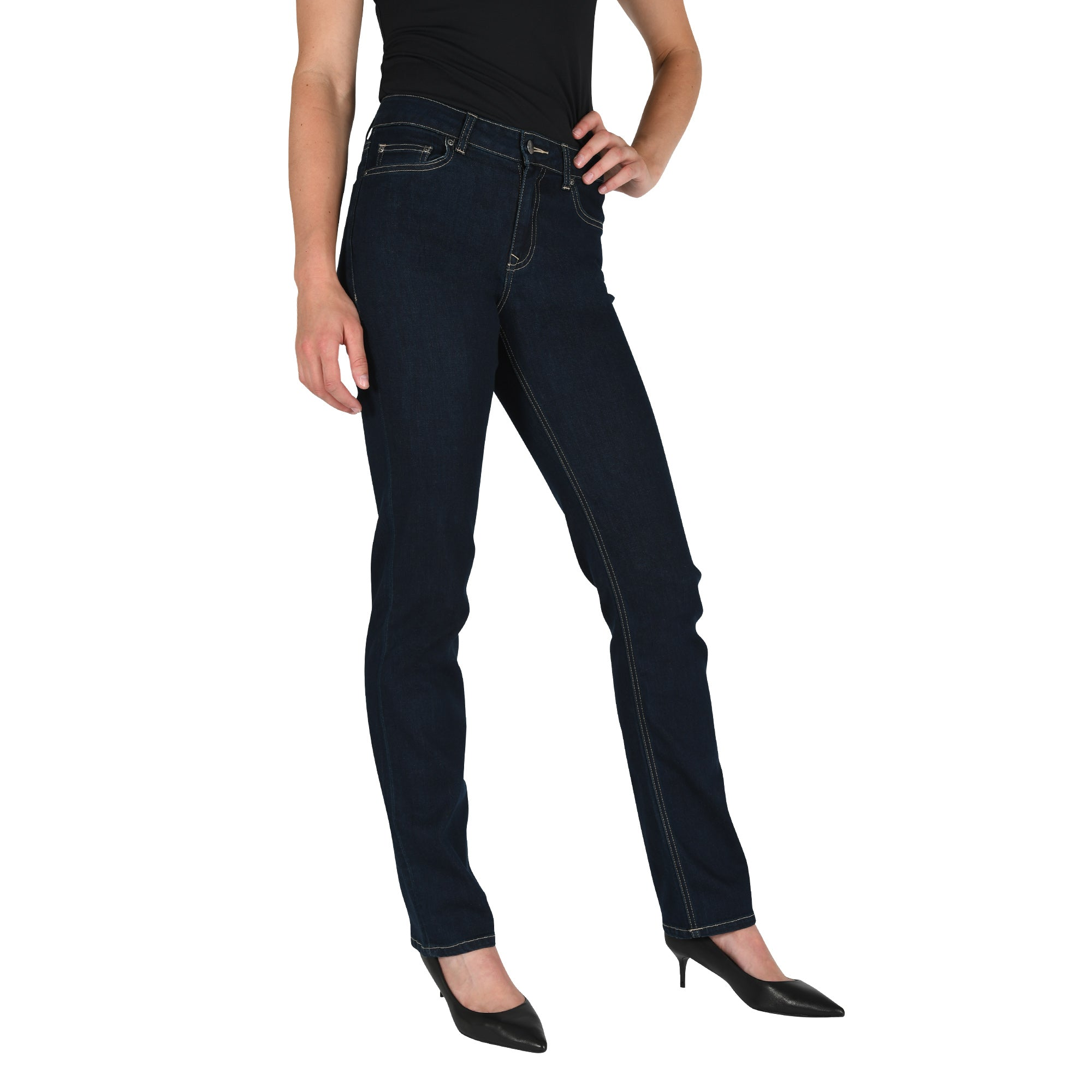 Womens Slim Straight Jeans Ladies Blue Denim