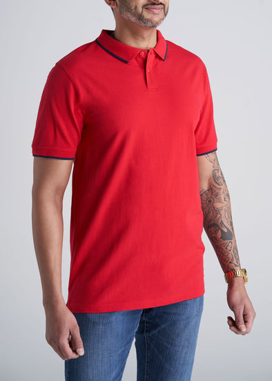 American_Tall_Mens_Basic_Polo_Tipping_Red_Navy-front