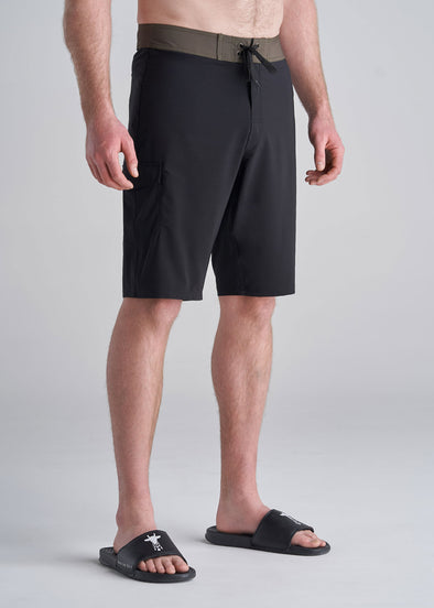 Tall Board Shorts for Men in Black with Olive