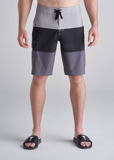 American_Tall_Mens_Board_Shorts_grey_color_block_front