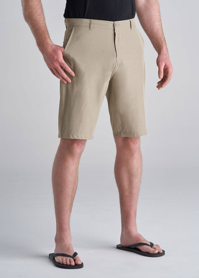 American_Tall_Mens_Hybrid_Shorts_Light_Khaki-front